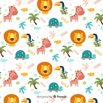 Colorful doodle jungle animals and words pattern
