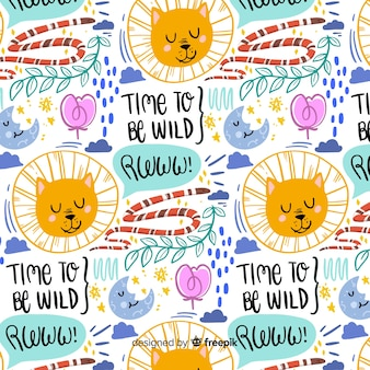 Colorful doodle lions and words pattern