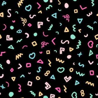 黒の背景にカラフルな落書きメンフィスシームレスパターン