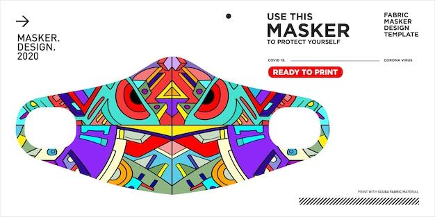 Colorful doodle pattern illustration mask