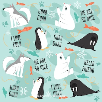 Colorful doodle polar animals and words pattern
