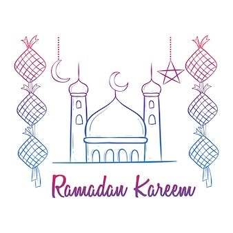 Colorful doodle ramadan kareem celebration with mosque and decoration