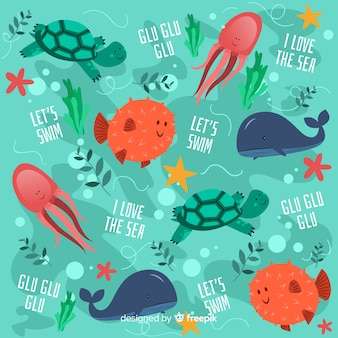 Colorful doodle sea animals and words pattern