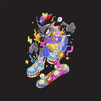Colorful doodle-the skating wolf