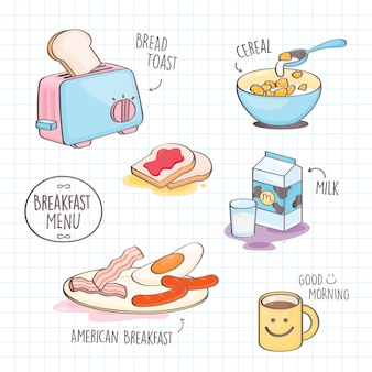 Colorful doodle style breakfast.