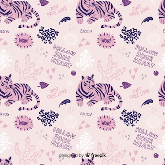 Colorful doodle tigers and words pattern