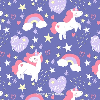 Colorful doodle unicorns and words pattern