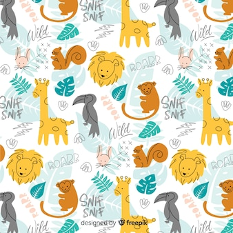 Colorful doodle wild animals and words pattern