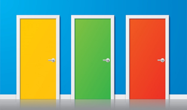 Colorful  doors. set of yellow, green and red modern realistic doors with chrome handles, on a blue wall background. illustration of simple design closed doors in a front view. choice concept.