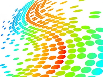 Colorful dots wave background