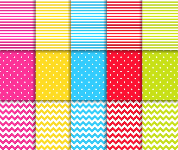 Colorful dotted and striped seamless patterns set