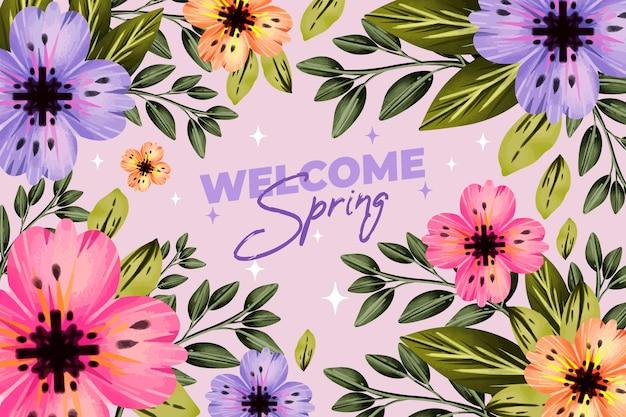 Sfondo colorato primavera acquerello punteggiato