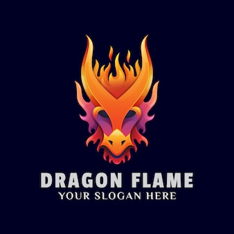 Colorful dragon flame logo illustration template