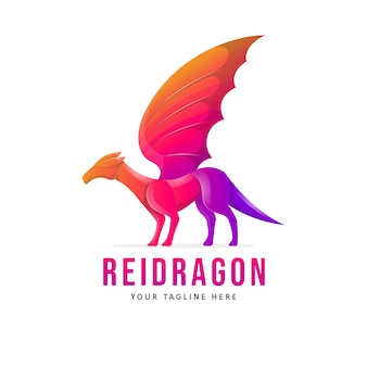 カラフルなドラゴンのロゴのデザインイラスト