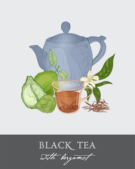 Colorful drawing of blue teapot, cup, tea leaves, flowers, whole and half cut green bergamot fruit