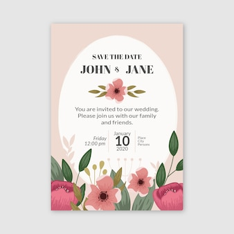 Colorful drawing concept for wedding invitation
