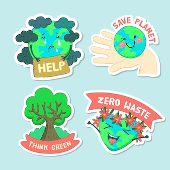 Colorful drawing of ecology badge collection