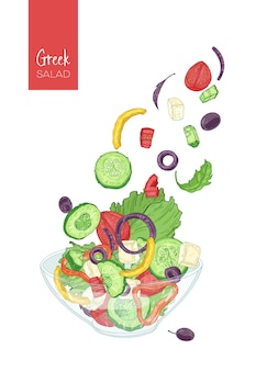 Colorful drawing of greek salad and its ingredients