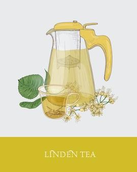 스트레이너, 꽃 차 한잔 또는 허브 주입이있는 투명한 투수의 다채로운 그림 프리미엄 벡터