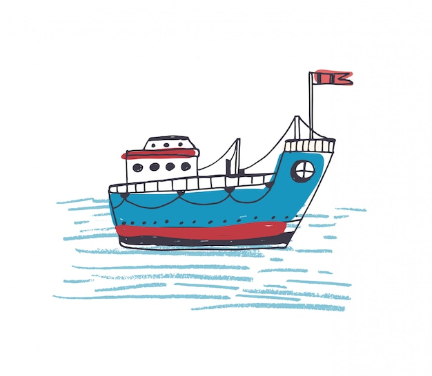 Colorful drawing of passenger ferry boat or marine vessel with flag sailing in sea.