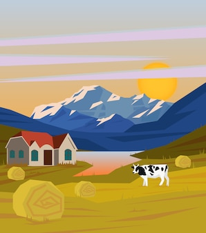 Colorful drawing rural landscape template