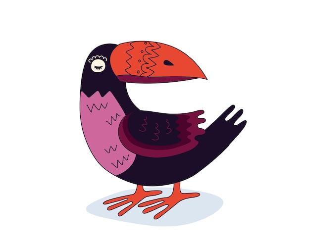 カラフルな描画オオハシエキゾチックな鳥手描き面白い熱帯オウムと巨大なくちばしスタンドベクトル