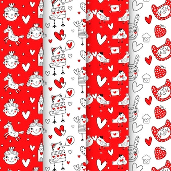 Colorful drawing with valentines day pattern collection