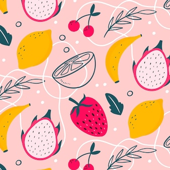 Colorful drawn fruits pattern