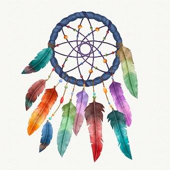 Colorful dream catcher watercolor
