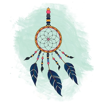 Colorful dreamcatcher over green watercolor stain