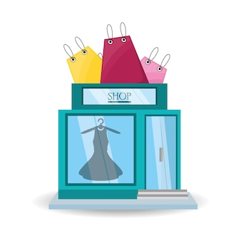 Colorful dress store with shopping bag concept