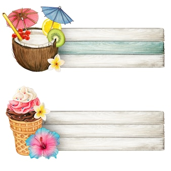 Colorful drink and icecream banners