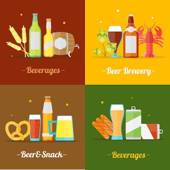 Colorful drinking beer set flat