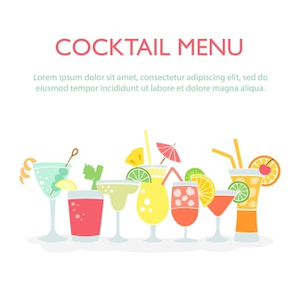 Colorful drinks set background