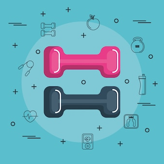 Colorful dumbbells with hand drawn objects related to exercising over blue background. vector illust