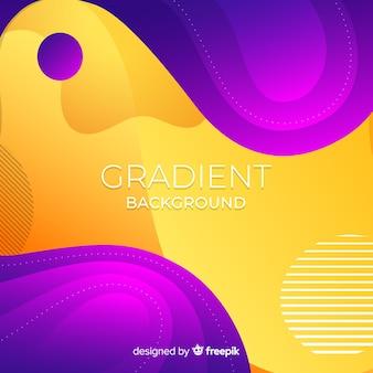 Colorful duotone wavy shapes background