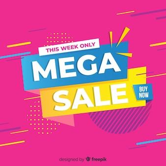 Colorful dynamic sales background flat design