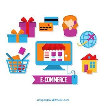 Colorful e-commerce concept