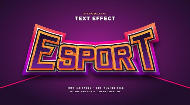 Colorful e-sport text style with curved and embossed effect. editable text style effect