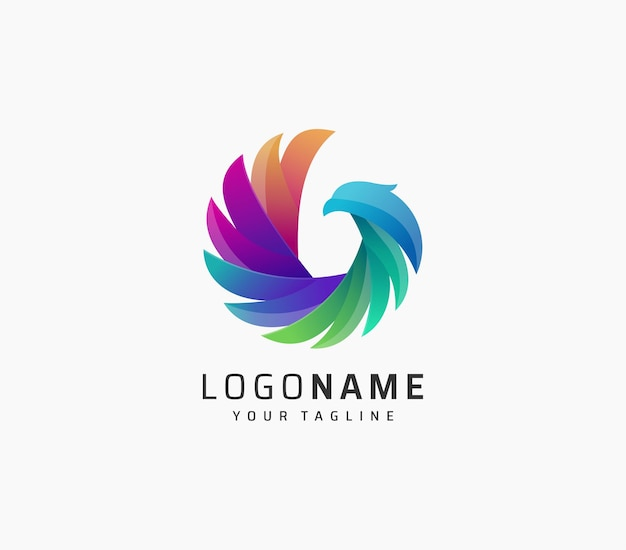 Красочный дизайн логотипа птицы орла