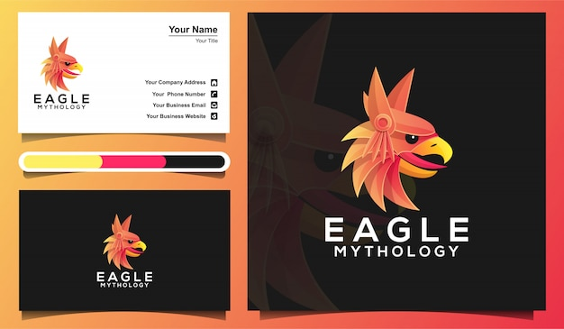 Colorful eagle head logo template and business card template
