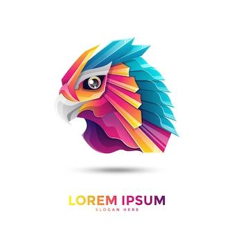 Шаблон логотипа красочный орел