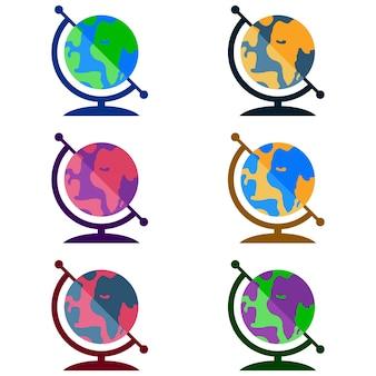 다채로운 지구 지구 세계지도 요소 아이콘 게임 자산