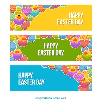 Colorful easter banners in flat design