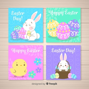 Colorful easter card collection