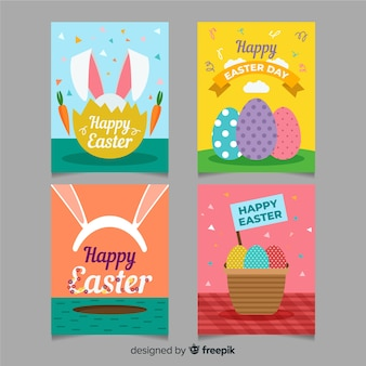 Colorful easter card pack