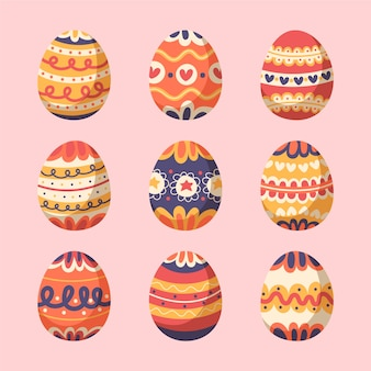 Colorful easter day egg collection