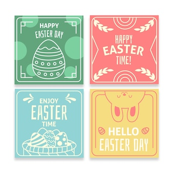 Colorful easter day instagram post collection template