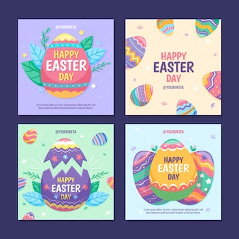 Colorful easter day instagram post collection