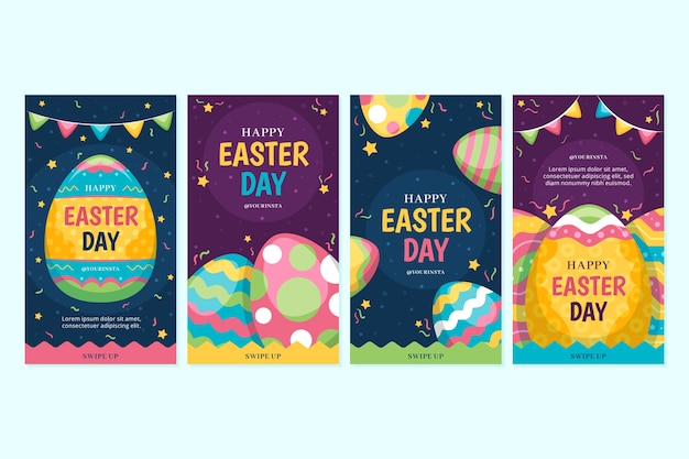 Colorful easter day instagram stories collection